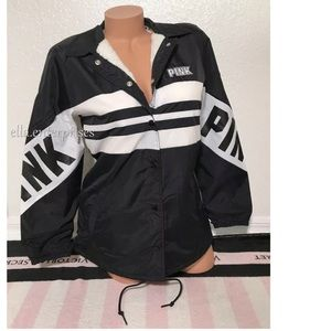 VS Pink Black White Sherpa Lined Snap Coach Jacket
